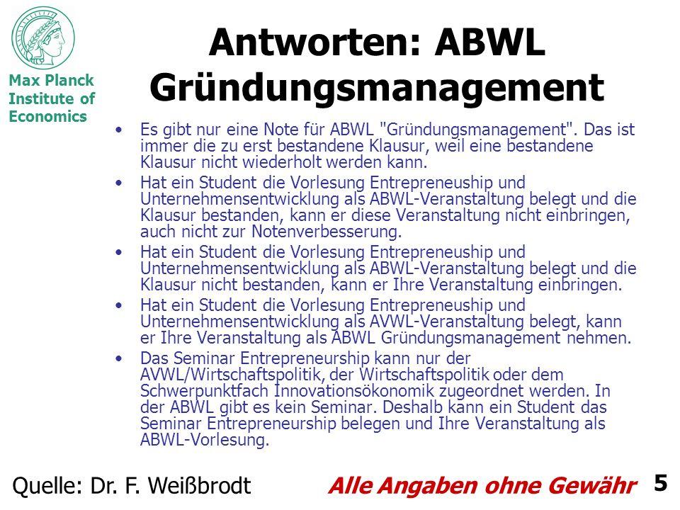 Antworten: ABWL Gründungsmanagement