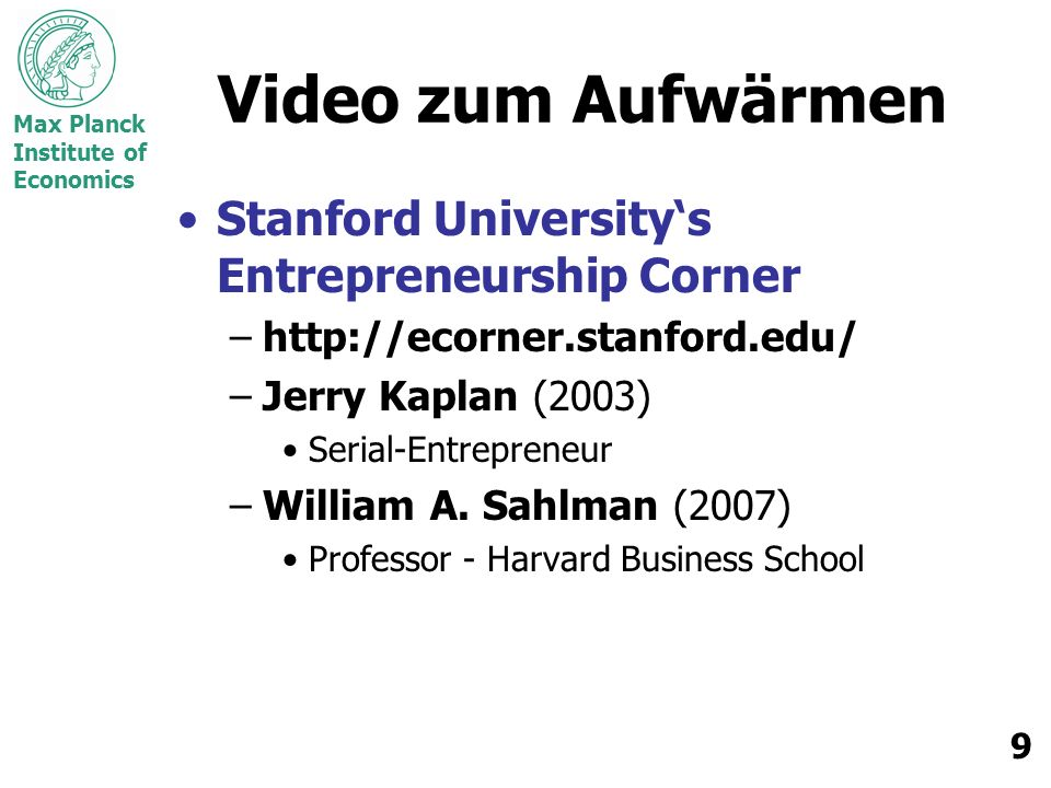 Video zum Aufwärmen Stanford University's Entrepreneurship Corner