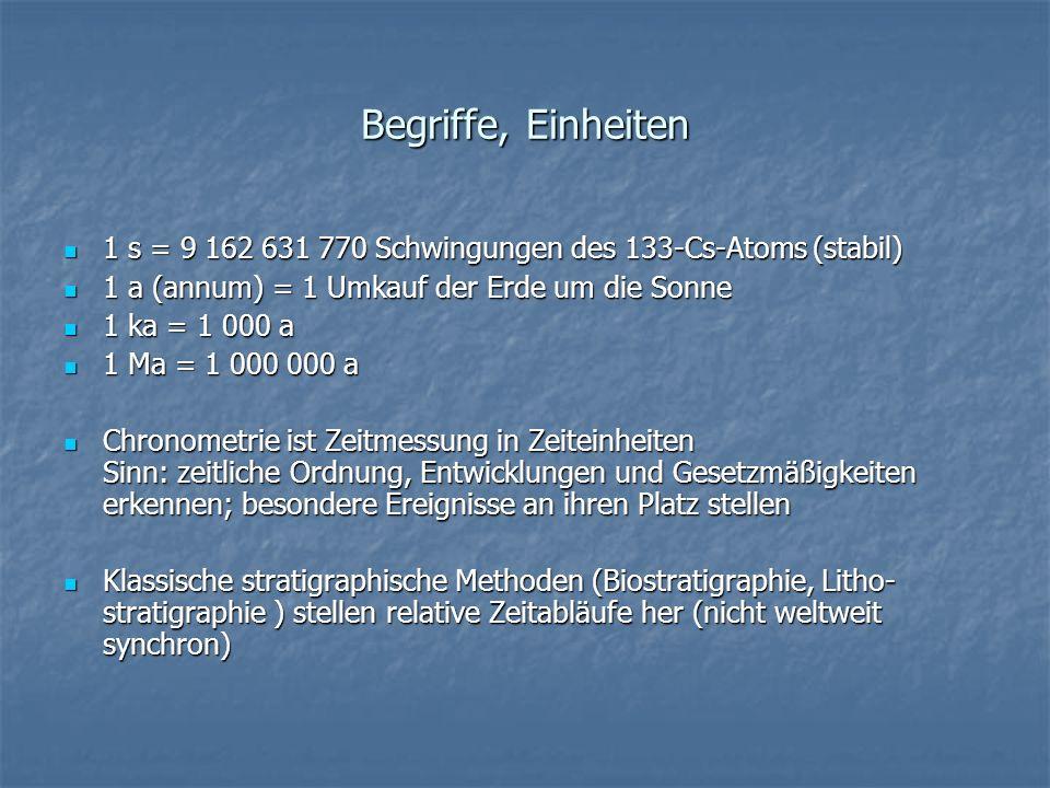 Begriffe, Einheiten 1 s = 9 162 631 770 Schwingungen des 133-Cs-Atoms (stabil) 1 a (annum) = 1 Umkauf der Erde um die Sonne.