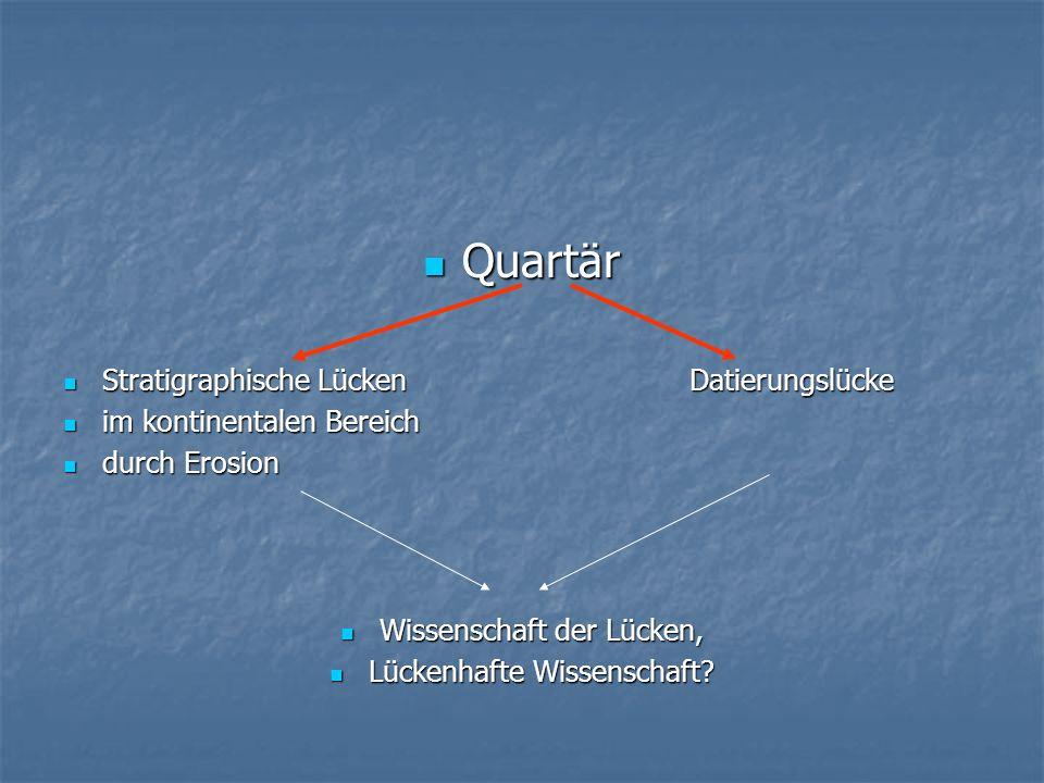 Quartär Stratigraphische Lücken Datierungslücke