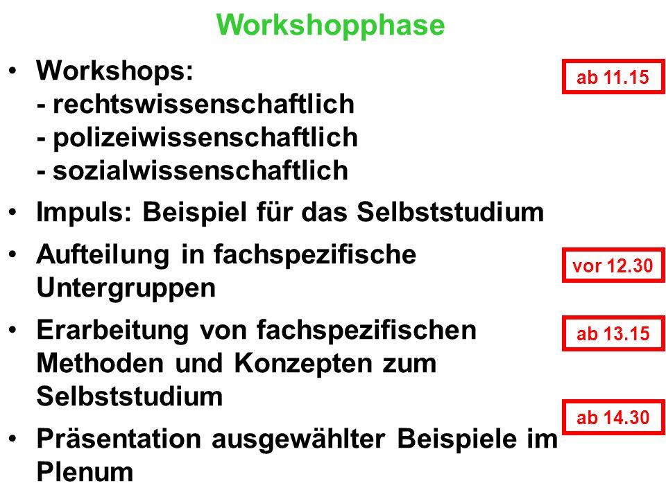 Workshopphase Workshops: - rechtswissenschaftlich