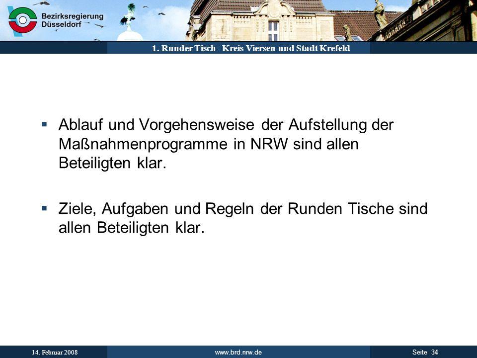 Runder Tisch Ablauf und Vorgehensweise der Aufstellung der Maßnahmenprogramme in NRW sind allen Beteiligten klar.