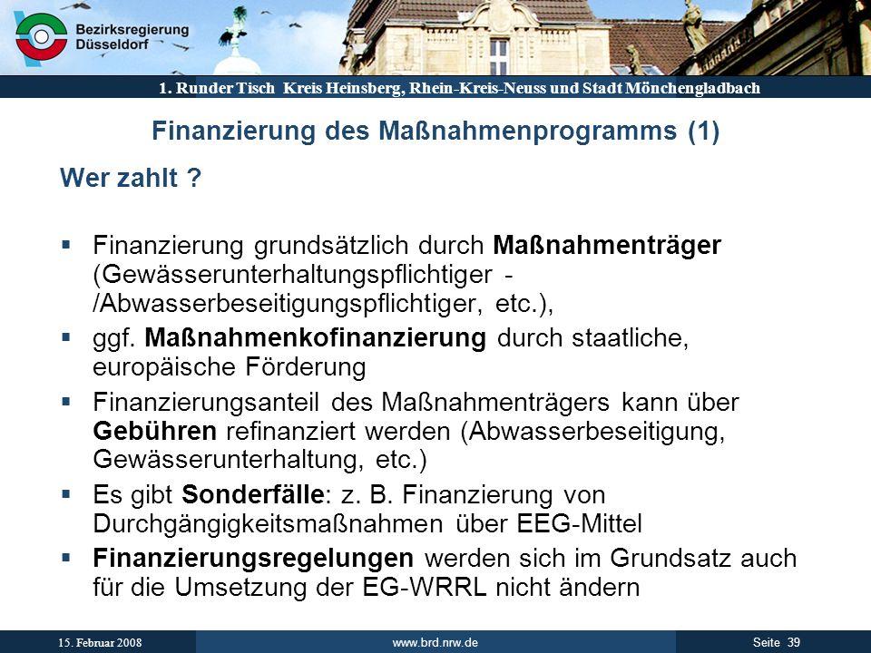 Finanzierung des Maßnahmenprogramms (1)