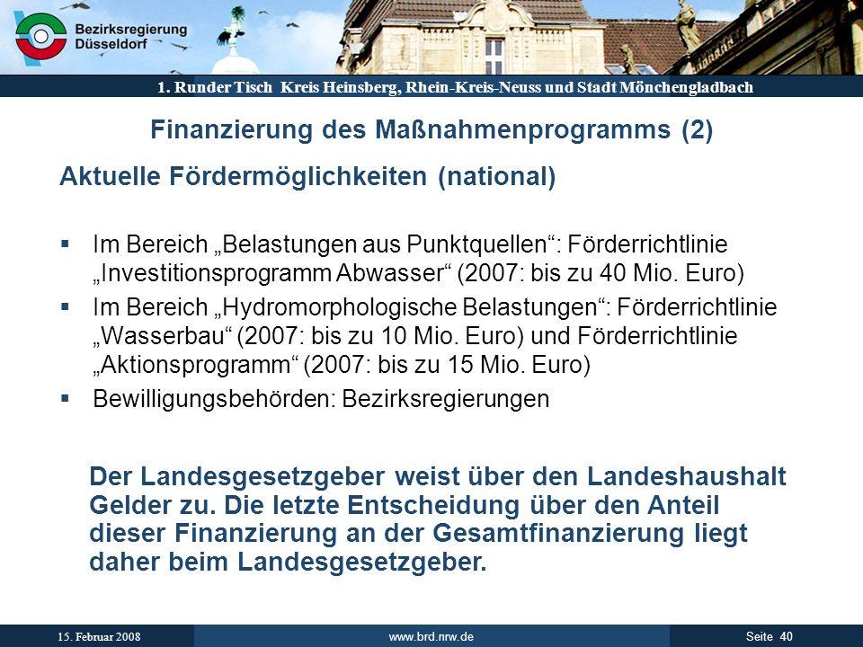 Finanzierung des Maßnahmenprogramms (2)