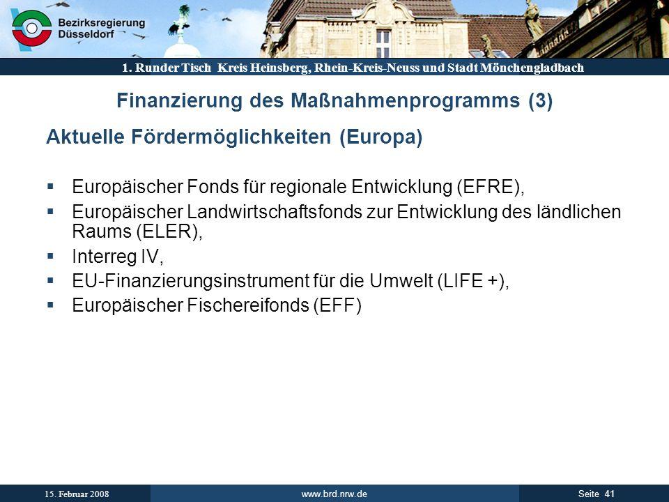 Finanzierung des Maßnahmenprogramms (3)