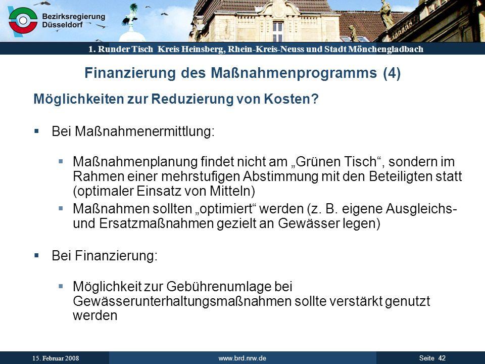 Finanzierung des Maßnahmenprogramms (4)