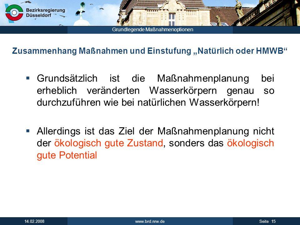 """Zusammenhang Maßnahmen und Einstufung """"Natürlich oder HMWB"""