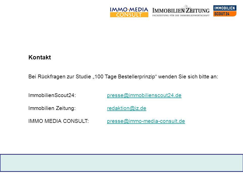"""Kontakt Bei Rückfragen zur Studie """"100 Tage Bestellerprinzip wenden Sie sich bitte an: ImmobilienScout24: presse@immobilienscout24.de."""