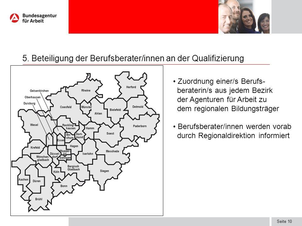 5. Beteiligung der Berufsberater/innen an der Qualifizierung
