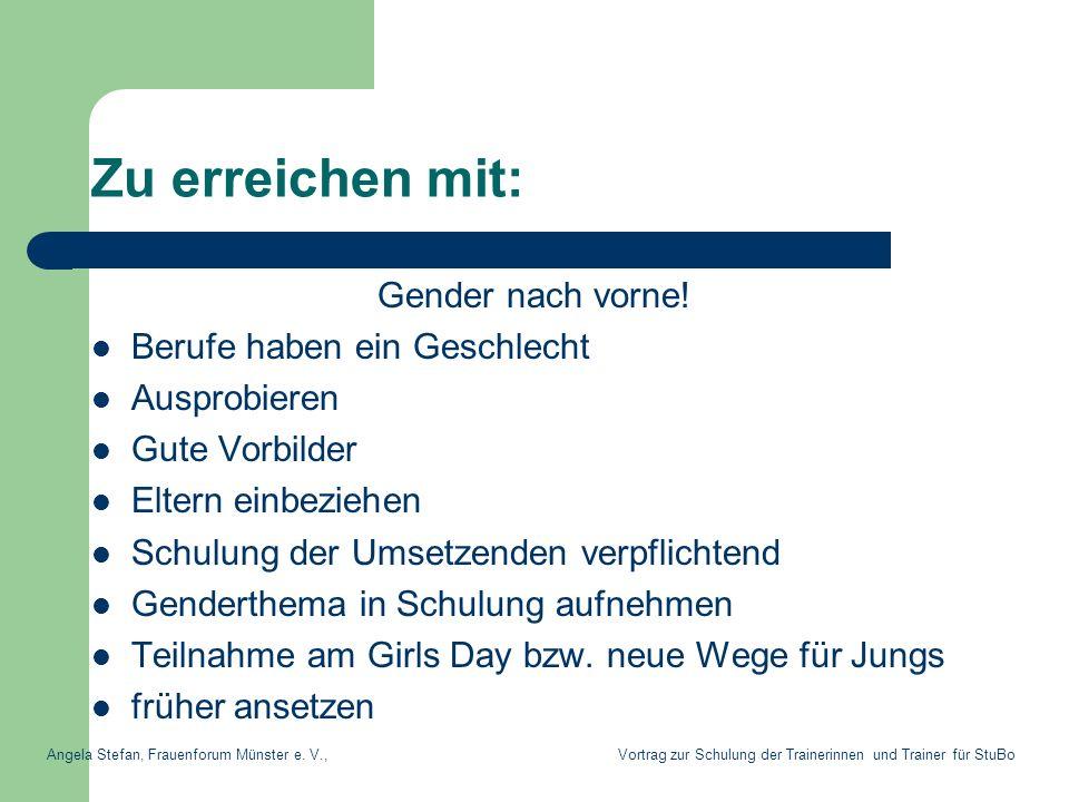 Zu erreichen mit: Gender nach vorne! Berufe haben ein Geschlecht