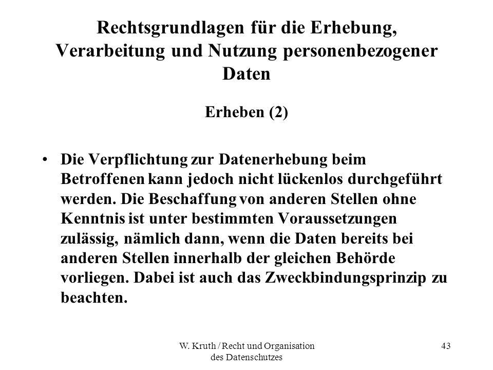 W. Kruth / Recht und Organisation des Datenschutzes