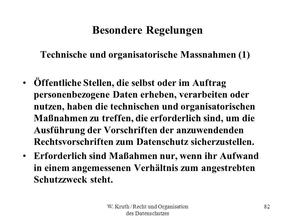 Technische und organisatorische Massnahmen (1)