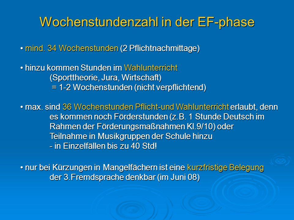 Wochenstundenzahl in der EF-phase