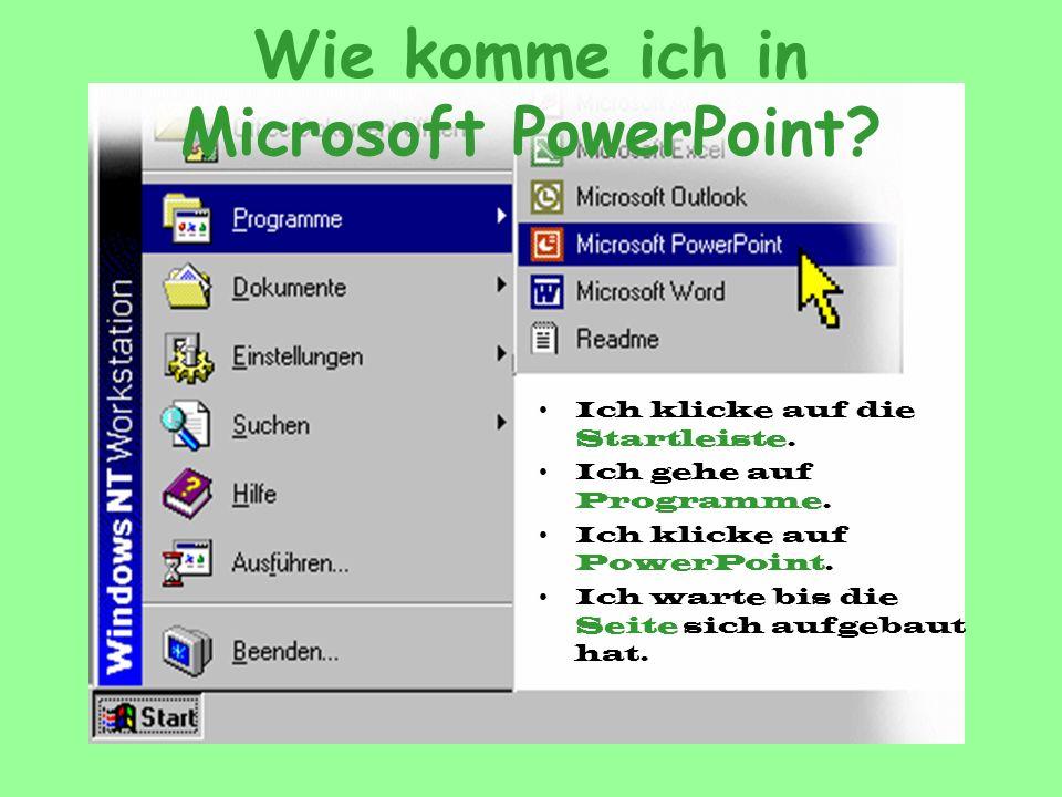 Wie komme ich in Microsoft PowerPoint