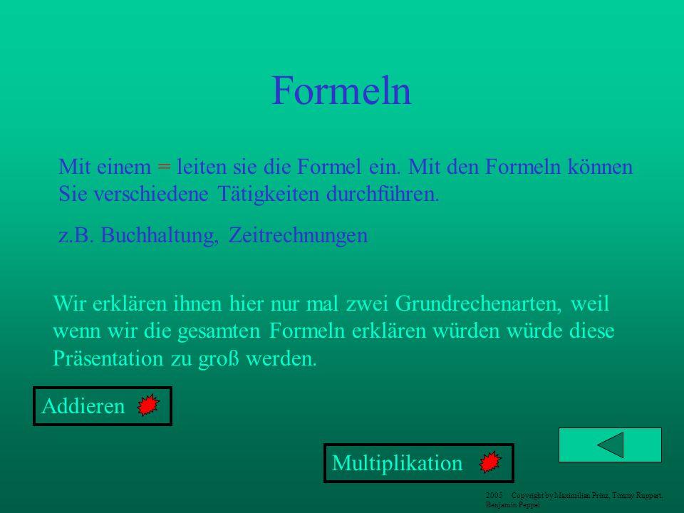 Formeln Mit einem = leiten sie die Formel ein. Mit den Formeln können Sie verschiedene Tätigkeiten durchführen.