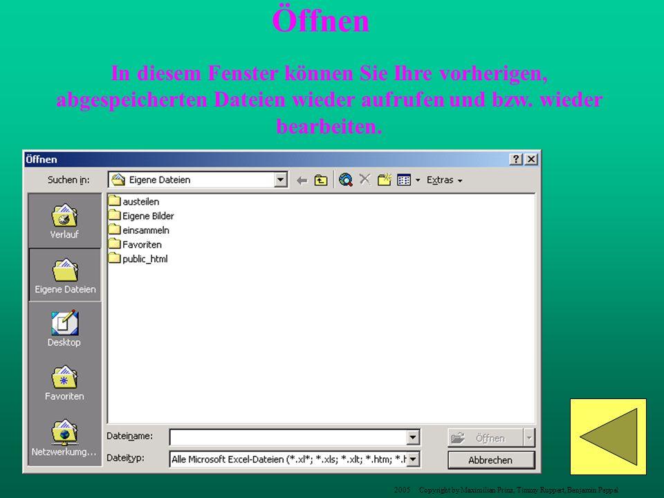 Öffnen In diesem Fenster können Sie Ihre vorherigen, abgespeicherten Dateien wieder aufrufen und bzw. wieder bearbeiten.