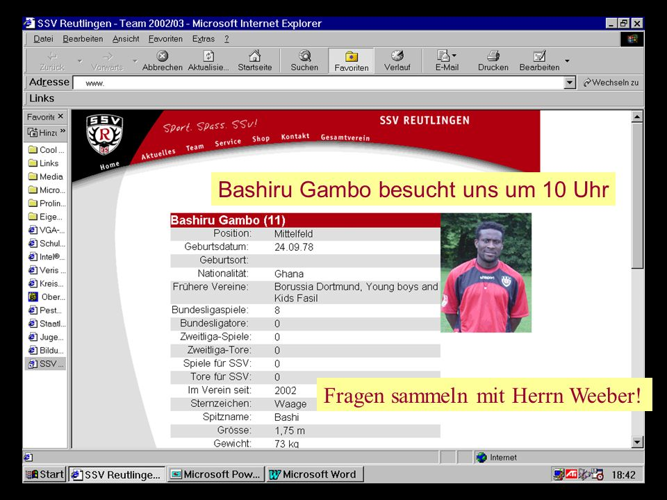 Bashiru Gambo besucht uns um 10 Uhr