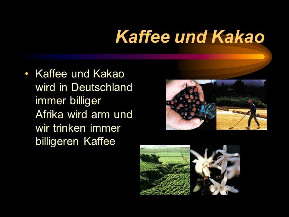 Kaffee und Kakao Kaffee und Kakao wird in Deutschland immer billiger Afrika wird arm und wir trinken immer billigeren Kaffee.