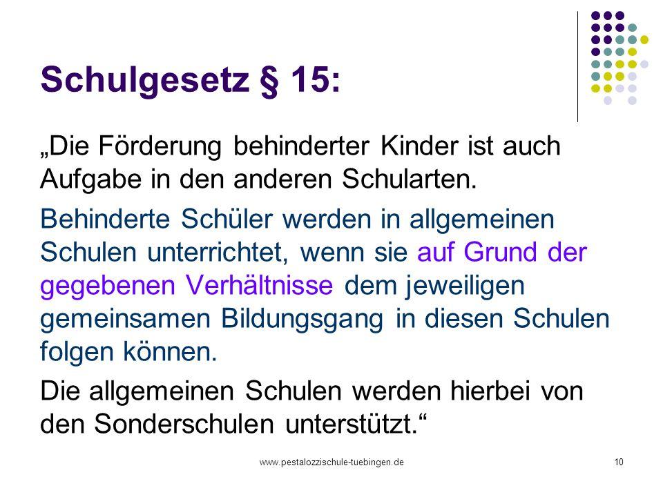 """Schulgesetz § 15: """"Die Förderung behinderter Kinder ist auch Aufgabe in den anderen Schularten."""