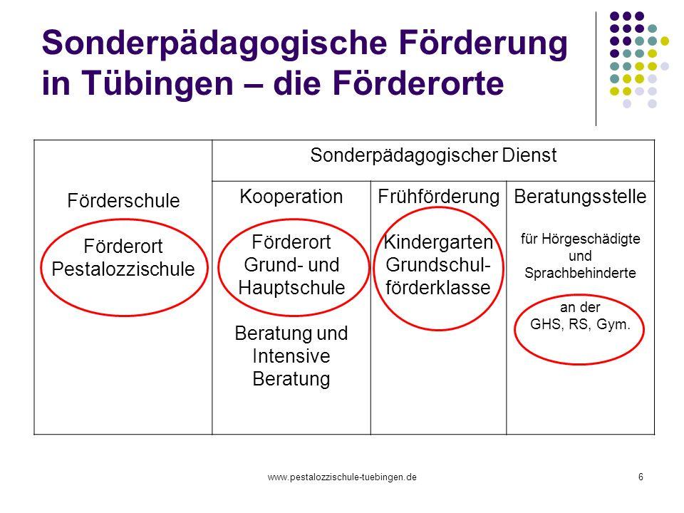 Sonderpädagogische Förderung in Tübingen – die Förderorte
