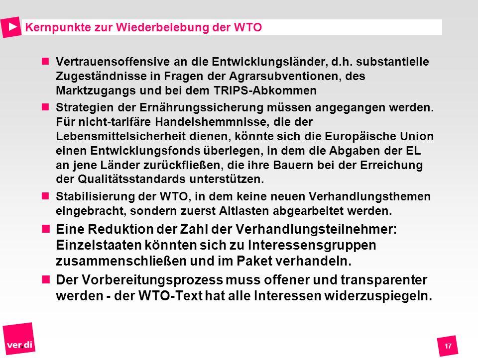 Kernpunkte zur Wiederbelebung der WTO