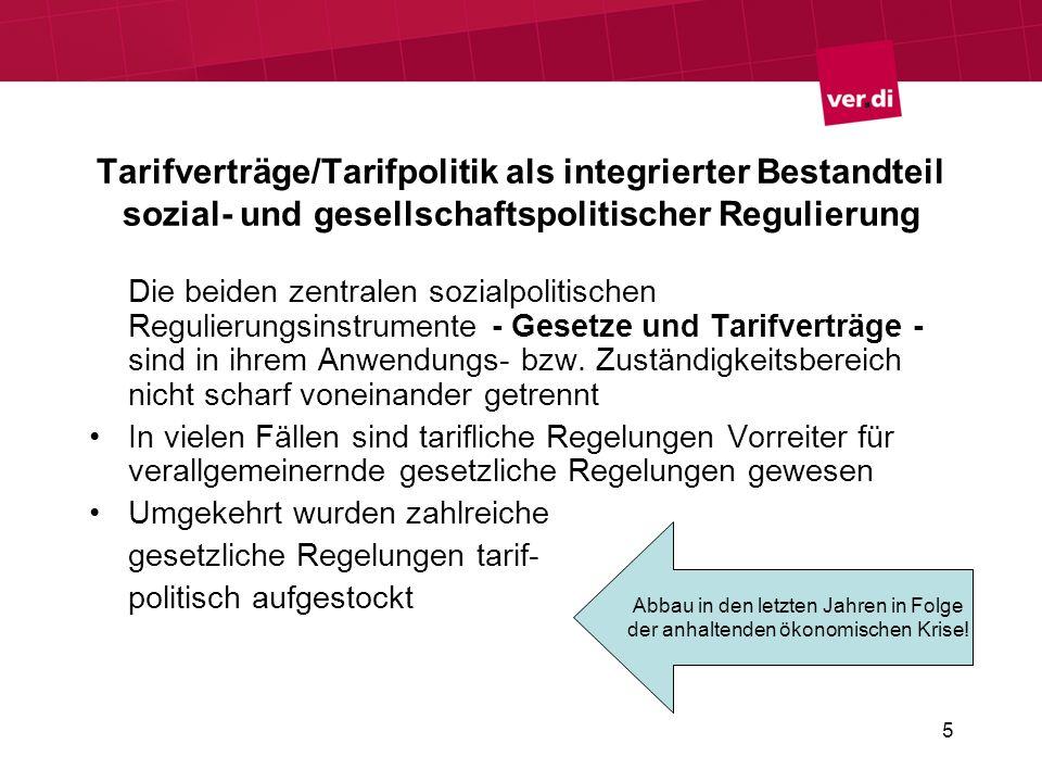 Tarifverträge/Tarifpolitik als integrierter Bestandteil sozial- und gesellschaftspolitischer Regulierung