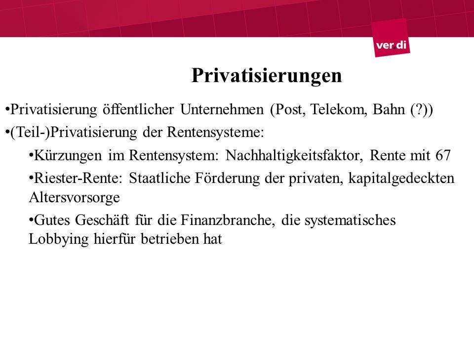 Privatisierungen Privatisierung öffentlicher Unternehmen (Post, Telekom, Bahn ( )) (Teil-)Privatisierung der Rentensysteme: