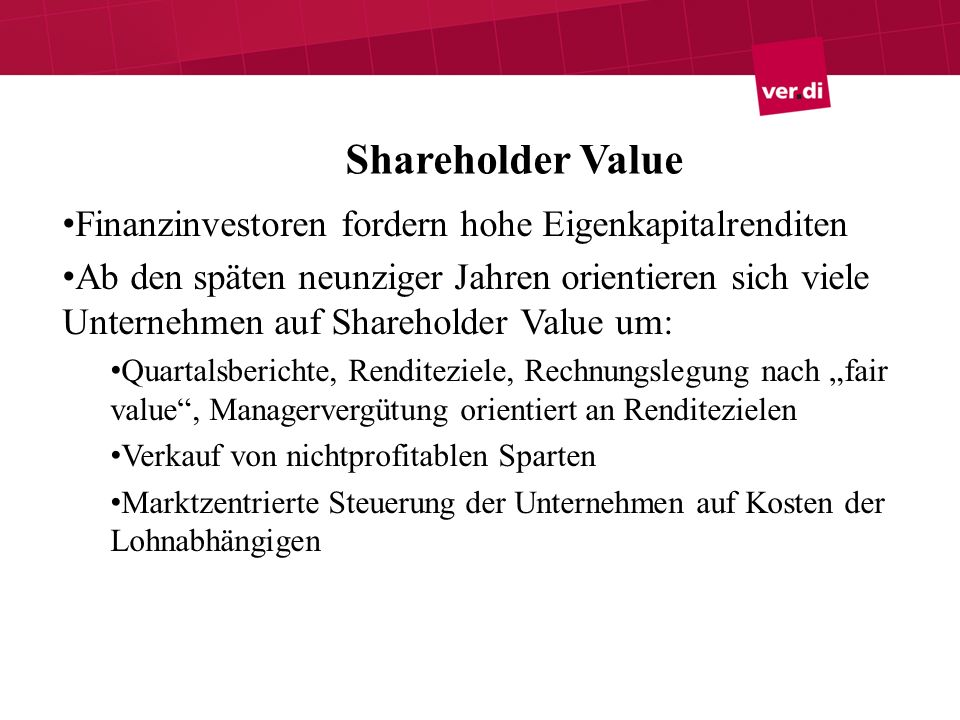 Shareholder Value Finanzinvestoren fordern hohe Eigenkapitalrenditen