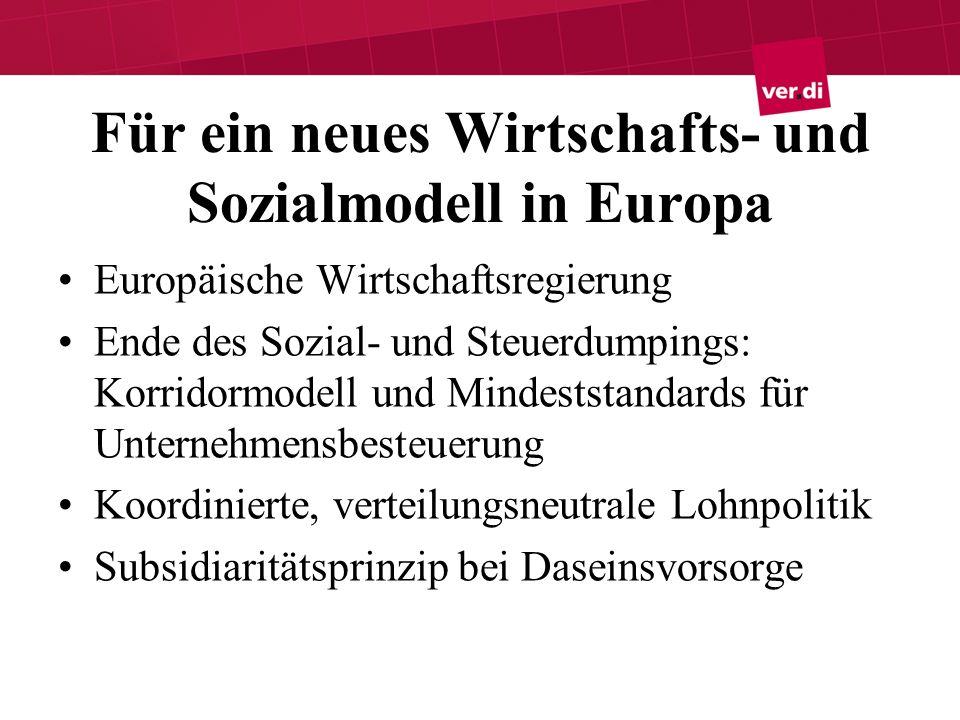 Für ein neues Wirtschafts- und Sozialmodell in Europa