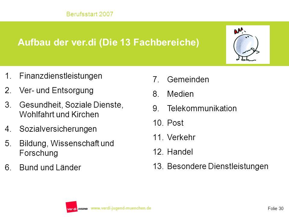 Aufbau der ver.di (Die 13 Fachbereiche)