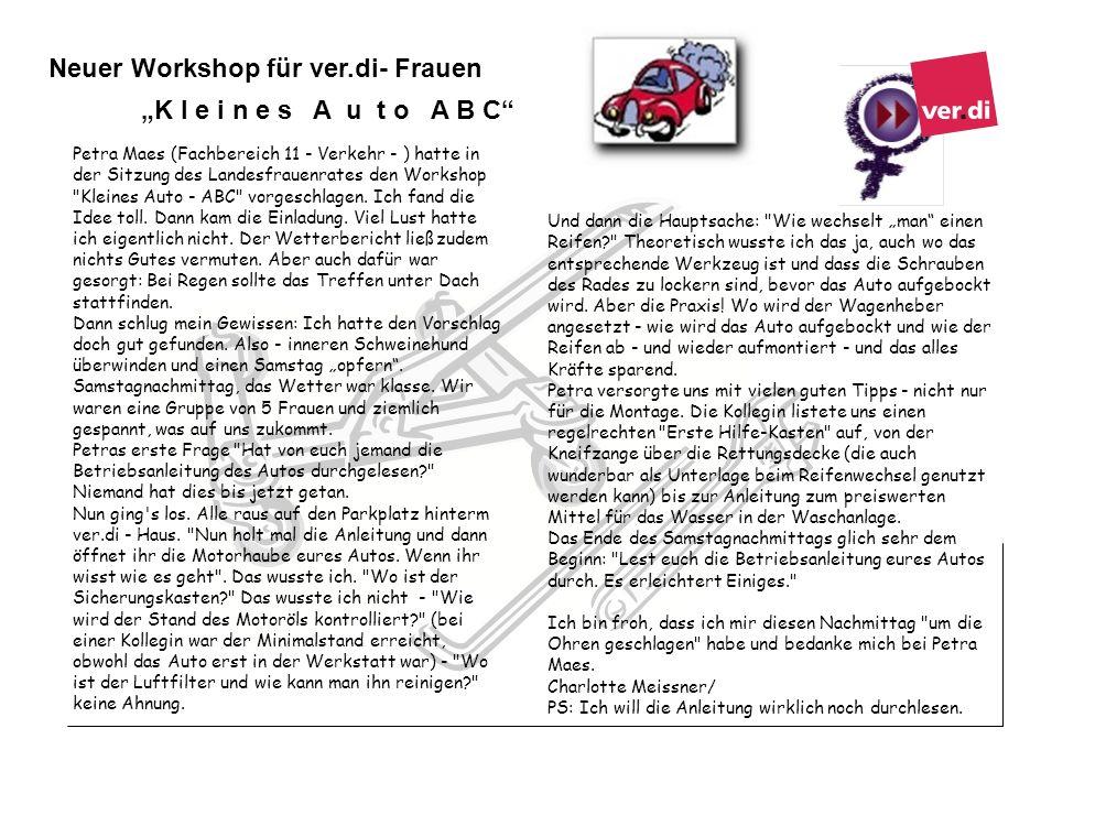 Neuer Workshop für ver.di- Frauen