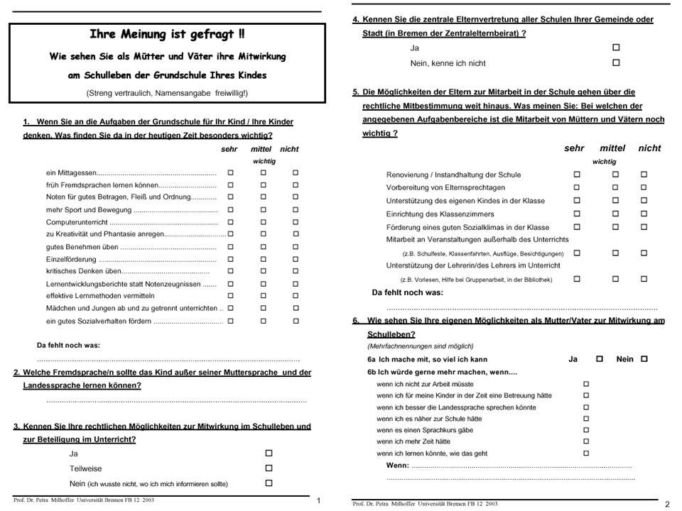 Entwurfsvorlage zur Bearbeitung für einen Fragebogen für die Elternbefragung.