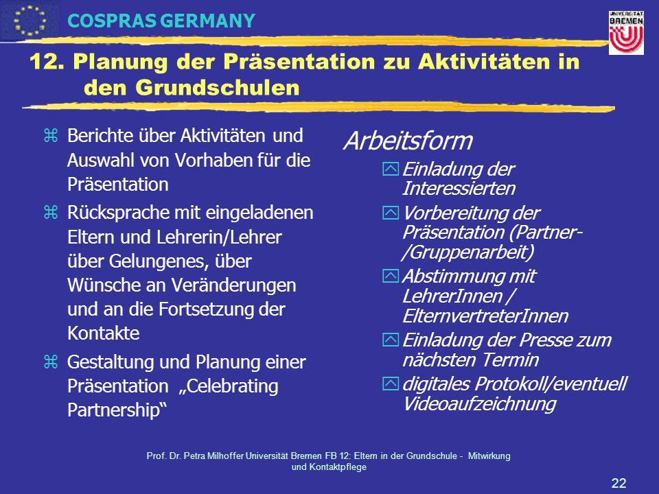 12. Planung der Präsentation zu Aktivitäten in den Grundschulen