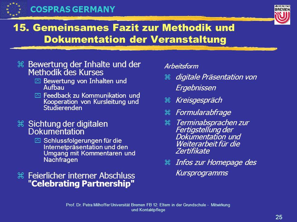15. Gemeinsames Fazit zur Methodik und Dokumentation der Veranstaltung