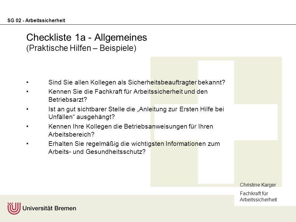 Checkliste 1a - Allgemeines (Praktische Hilfen – Beispiele)