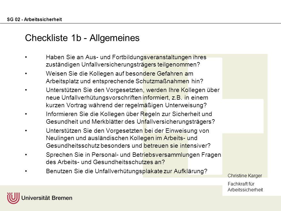 Checkliste 1b - Allgemeines