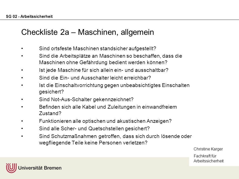 Checkliste 2a – Maschinen, allgemein
