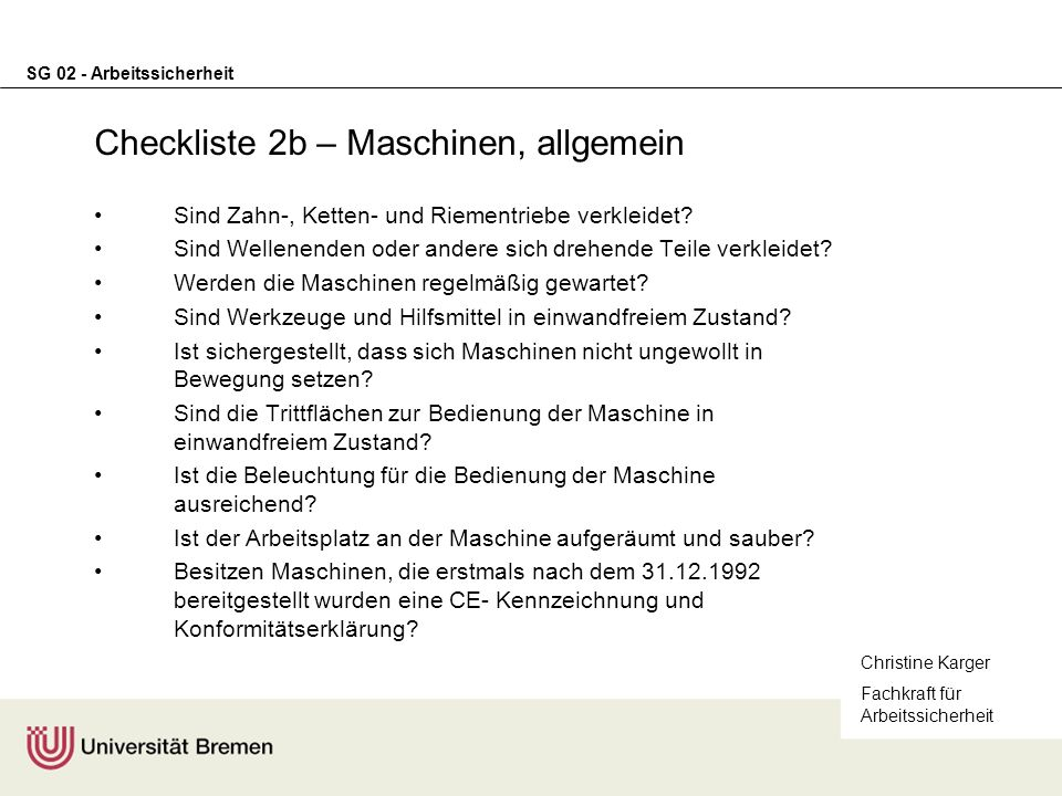 Checkliste 2b – Maschinen, allgemein