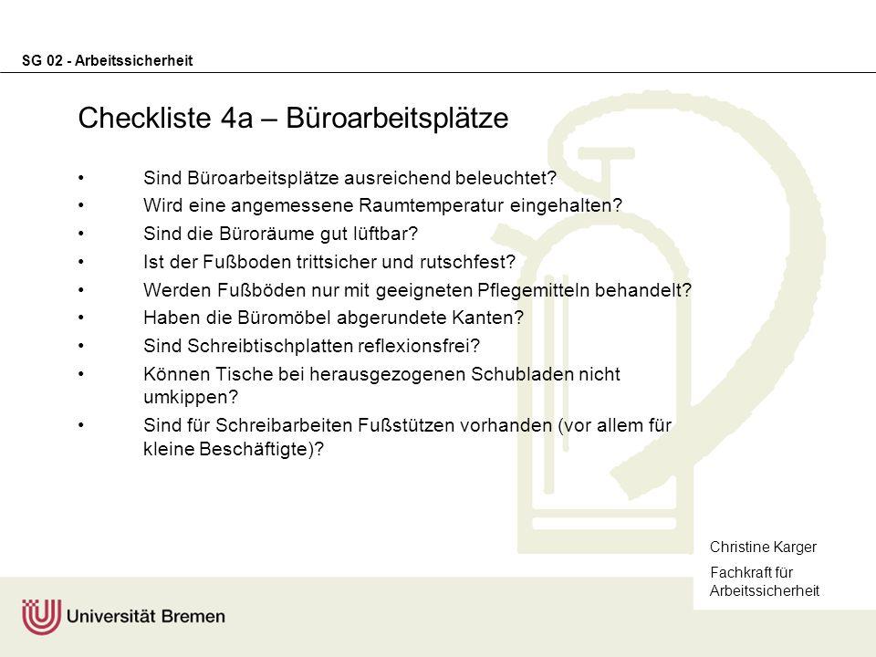 Checkliste 4a – Büroarbeitsplätze