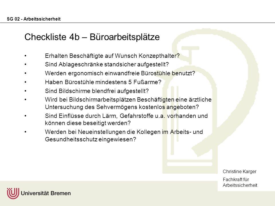 Checkliste 4b – Büroarbeitsplätze