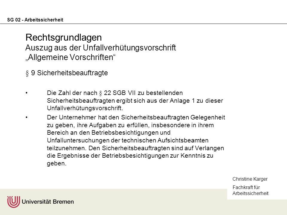 """Rechtsgrundlagen Auszug aus der Unfallverhütungsvorschrift """"Allgemeine Vorschriften"""