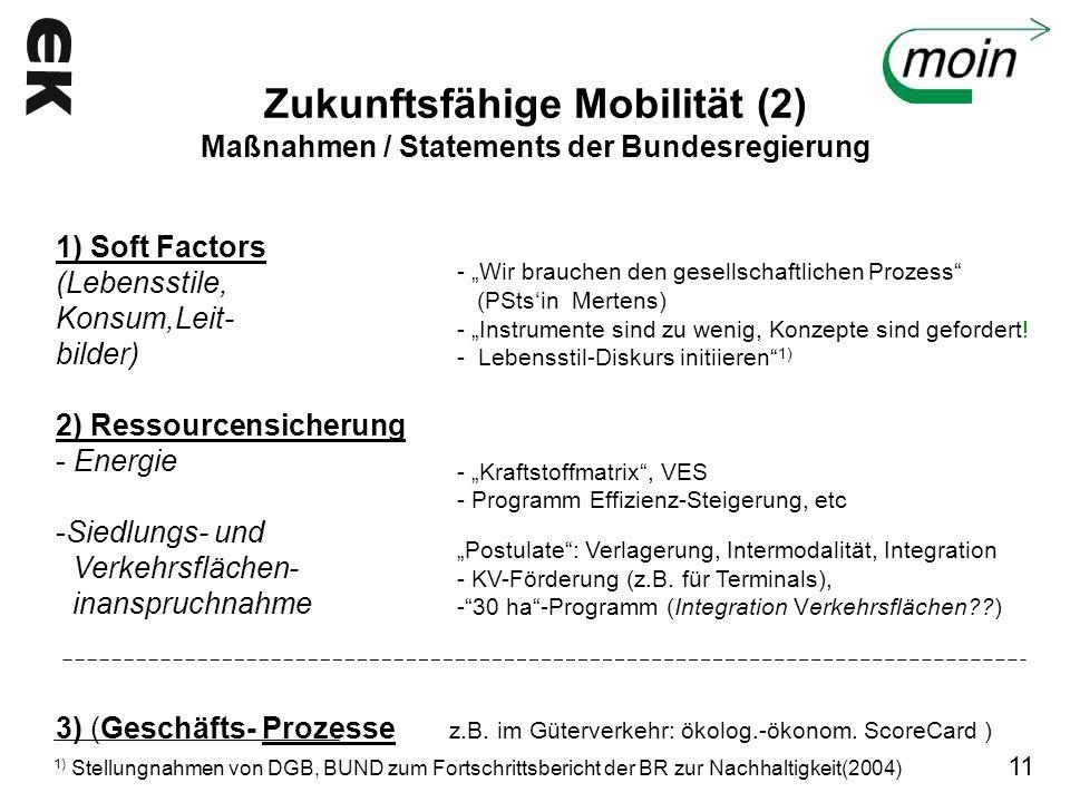 Zukunftsfähige Mobilität (2) Maßnahmen / Statements der Bundesregierung