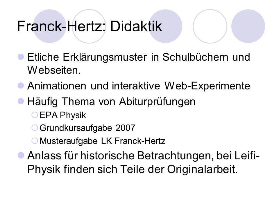 Franck-Hertz: Didaktik
