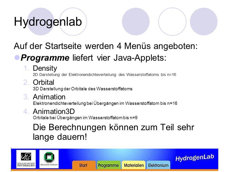 Hydrogenlab Auf der Startseite werden 4 Menüs angeboten: