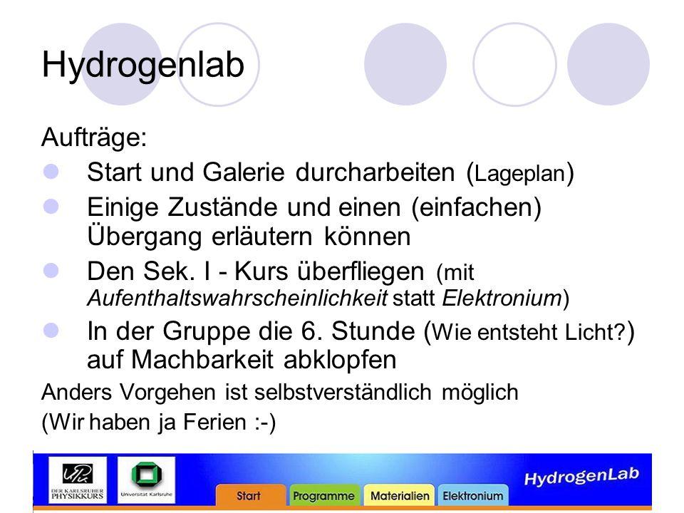 Hydrogenlab Aufträge: Start und Galerie durcharbeiten (Lageplan)