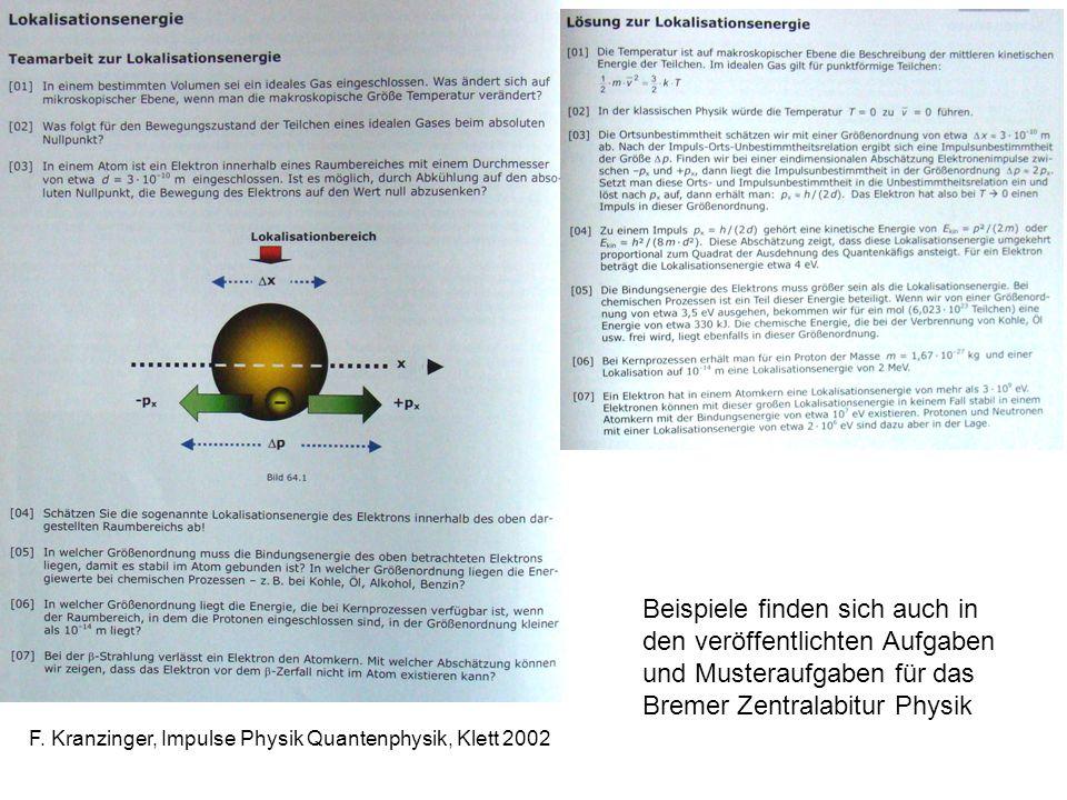 auch Beispiele finden sich auch in den veröffentlichten Aufgaben und Musteraufgaben für das Bremer Zentralabitur Physik.