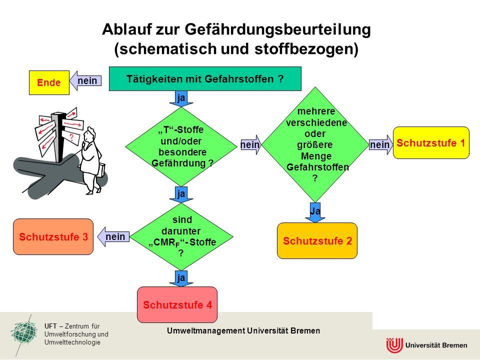 Ablauf zur Gefährdungsbeurteilung (schematisch und stoffbezogen)
