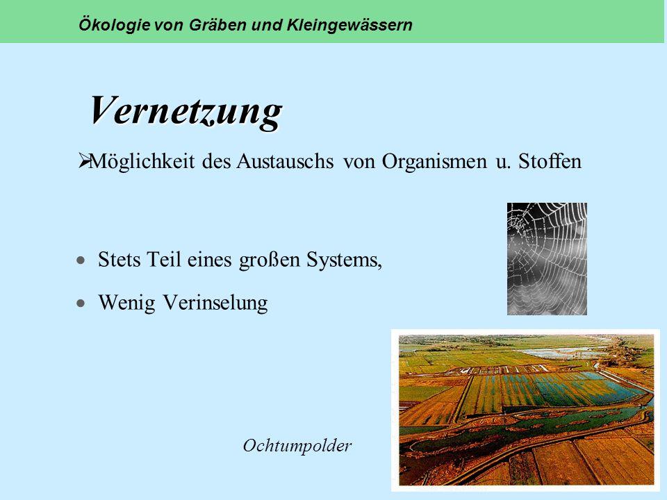 Vernetzung Möglichkeit des Austauschs von Organismen u. Stoffen
