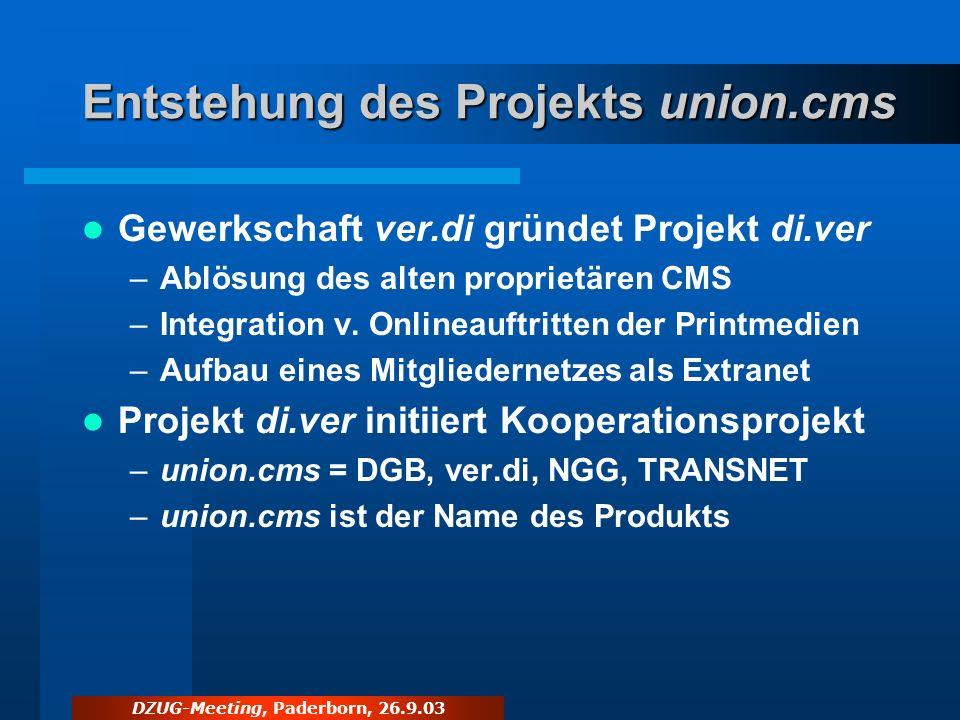 Entstehung des Projekts union.cms