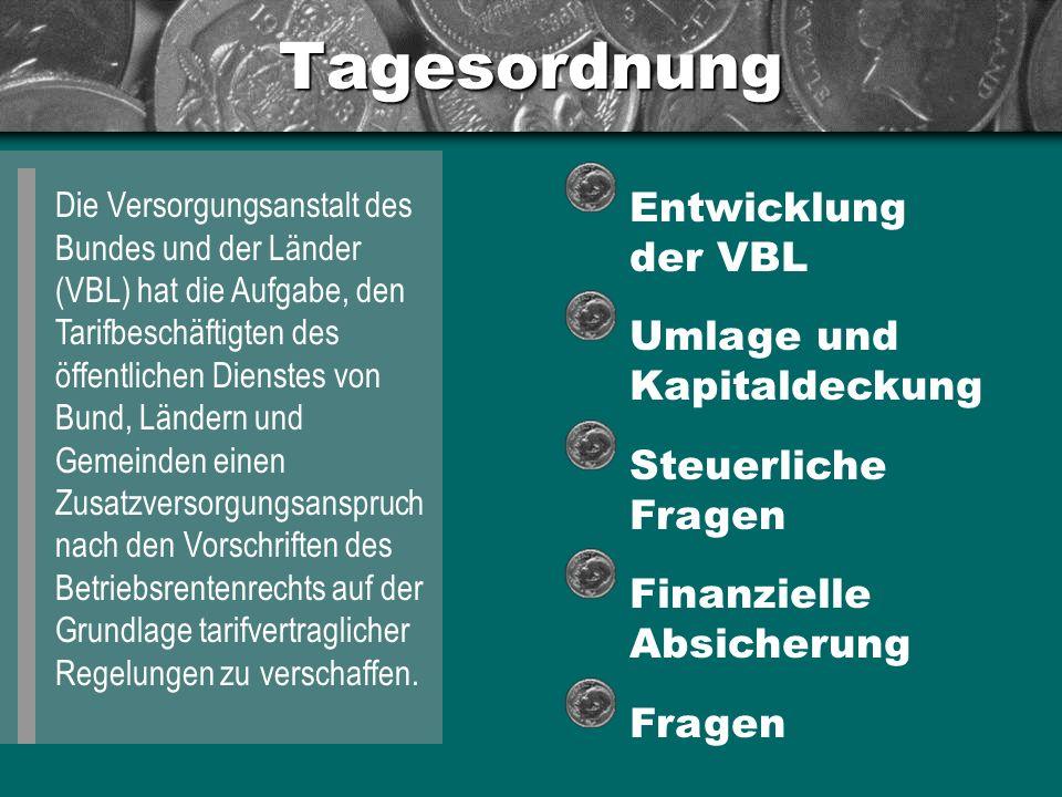 Tagesordnung Entwicklung der VBL Umlage und Kapitaldeckung